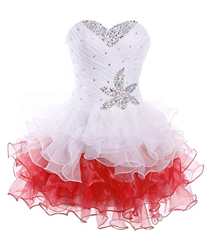 White red Dress Short Homecoming Strapless BessDress BD126 Tulle Cocktail Dress pwCv1x8zq