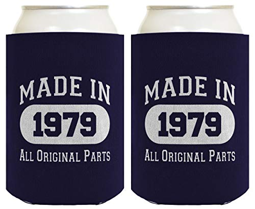 - Made in 1977 40th Birthday Gift 2 Pack Can Coolies Navy