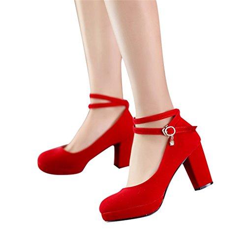 Beautiful Bridal Alti colore Sposa Donna Tacchi Nelle con Pizzo Rosso Red Shoes Alta Spessore Dimensioni Con Scarpe Da 34 6cm Red rrw0xqSg