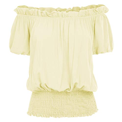 Womens Off Shoulder Peansant Blouse Renaissance Pirate Tops T Shirts KK1038-3 XL Yellow ()