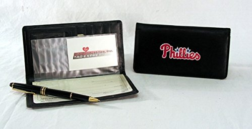 MLB Philadelphia Phillies Embroidered Genuine Cowhide Leather Checkbook Cover ()