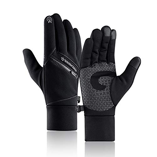 Sodhue Winter Warm Gloves for Men Women Windproof Thermal Gloves with Zipper Pocket Waterproof &Anti-Slip Touch Screen Gloves for Cycling Running Hiking Skiing Outdoor Activities