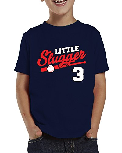 SpiritForged Apparel Little Slugger 3 Year Old Toddler T-Shirt, Navy 3T