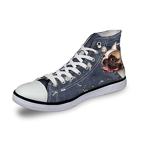 for top Dog Women Bulldog Cute Coloranimal High Flat Pattern Cat 9 Animal Shoes Denim Canvas tYwAxqRv