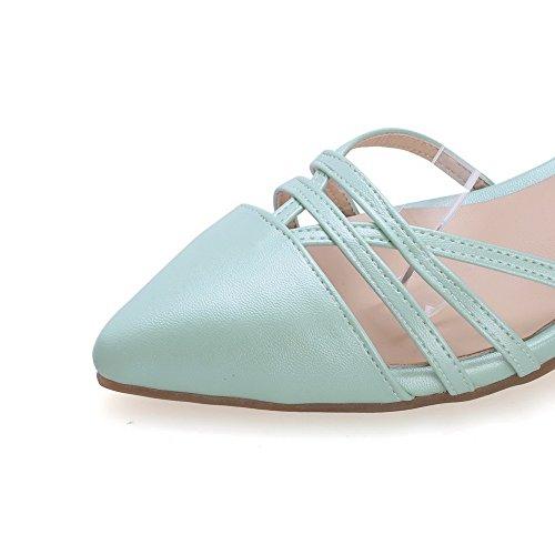AmoonyFashion Womens Buckle Pointed Closed Toe Kitten Heels PU Solid Pumps Shoes LightBlue L3EnyAyxF