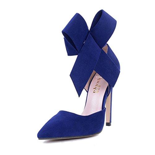 Pompes Tie Big Bow Thin Heel Pointed Women Bleu Single Xianshu Talons Shoes hauts aOTqw1TU