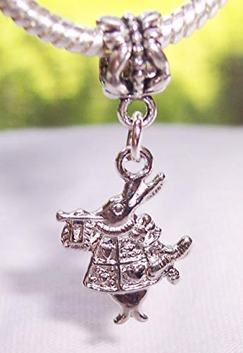 Rabbit Charm Pugster (White Rabbit Alice in Wonderland Castle Dangle Charm for European Slide Bracelet Crafting Key Chain Bracelet Necklace Jewelry Accessories Pendants)