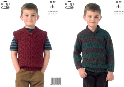 7d2f29aae King Cole Boys Double Knitting DK Pattern for Long Sleeved Textured Sweater    Slipover 3549  Amazon.co.uk  Kitchen   Home