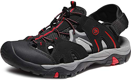 - ATIKA Men's Sport Sandals Trail Outdoor Water Shoes 3Layer Toecap, Rocky(m121) - Black & Red, 13