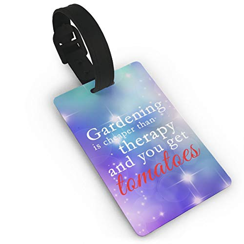 (Mini Luggage Tag Gardening Cheaper Than Therapy PVC Business Card Holder for Baggage Bag Name Address ID Label Travel Identifier Accessories )