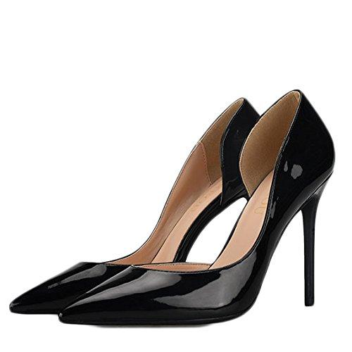 Mujer Salón Moda Alto De Negro Zapatos Tacón qRAIwn6
