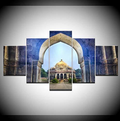 Gujiu Canvas Painting Isa Khan'S Tomb Temple Delhi India 5 Panels Wall Art Painting Modular Wallpapers Poster Print Home Decor-40Cmx60/80/100Cm
