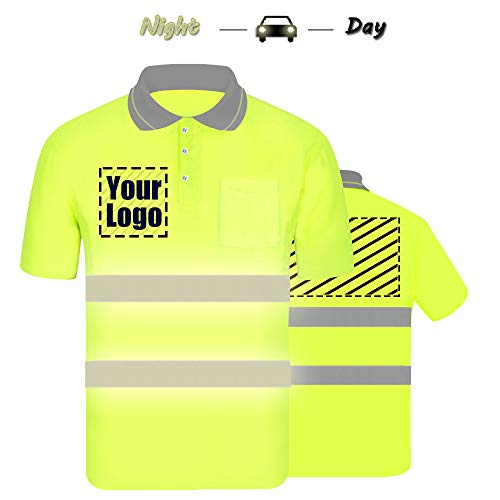 High Visibility Reflective Safety Polo Shirts Custom Your Logo Hi Vis Outdoor Workwear Short Sleeve T-Shirt with Reflective Strips (Neon Yellow (XL)) (Hi Vis Polo Shirts With Reflective Tape)