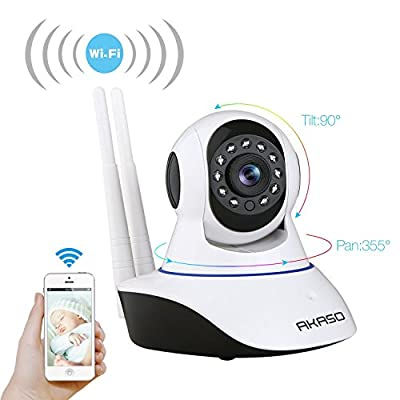 AKASO Wireless Wifi IP Security Camera 720P Indoor Home Surveillance System Baby Pet Monitor 2 Way Audio, Day/Night Vision Webcam (IP1M-901) from AKASO