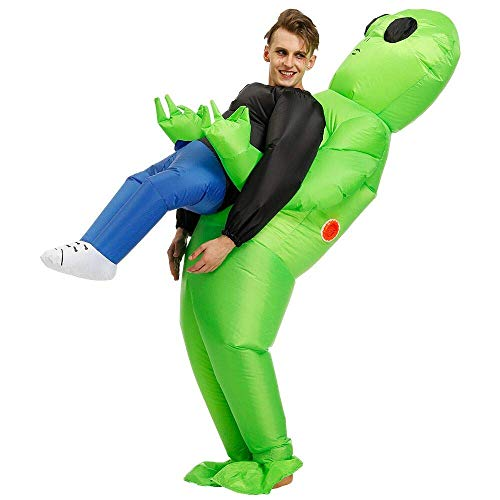 RHYTHMARTS Inflatable Alien Costume Easter Costumes Ghost Pick Me Up Cosplay Costume Fancy Dress Jumpsuit Suit for Adult -1PC (Alien) Green ()