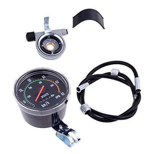 Prettyia Lightweight Bike Stopwatch Speedometer Waterproof Cycling Odometer Mechanical Bike Stop Watch Speed Gauges ()