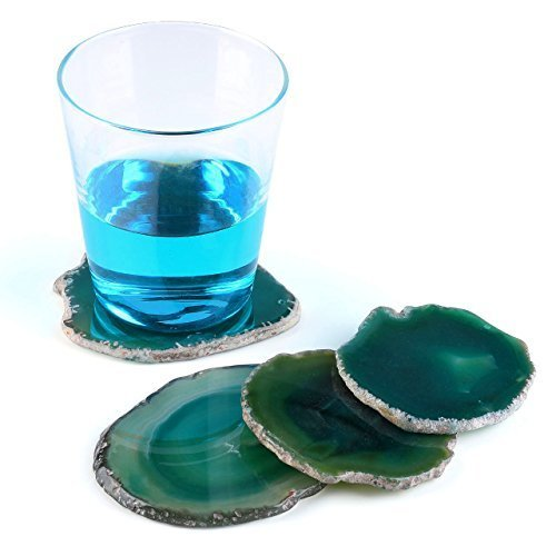 Agate Green Set (PESOENTH Agate Coaster Mats Natural Sliced Dyed Agate Crystal Quartz Stone Cup Mat Coasters for Drinks Beverage Beer Bar Home Party 4Pcs 3.2-4 inches(Green))