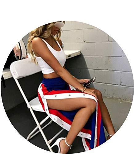 Women Cut Off Split Side Long Pants Fashion Buttons Wide Leg Jogger Pants,Blue,XL for $<!--$25.35-->