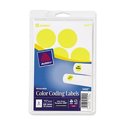 Avery 5499 Removable Print Or Write Color Coding Labels 125quot Round