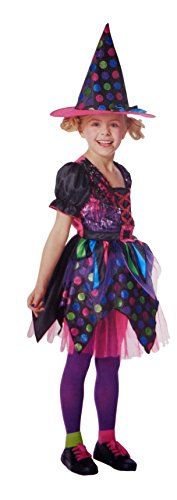 Witch Neon Child Costume (Girls Sequin Witch Costume, Includes Dress and Hat (Large)