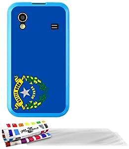 """Carcasa Flexible Ultra-Slim SAMSUNG S5830 de exclusivo motivo [Nevada Bandera] [Azul] de MUZZANO  + 3 Pelliculas de Pantalla """"UltraClear"""" + ESTILETE y PAÑO MUZZANO REGALADOS - La Protección Antigolpes ULTIMA, ELEGANTE Y DURADERA para su SAMSUNG S5830"""