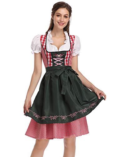 GloryStar Women's Oktoberfest Costume Dirndl Dress Set One Piece 100% Polyester M