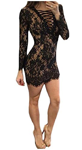 Pizzo Floreale V Maniche Chyedas neck Bodycon Con Womens Sexy Lunghe Nero In D29EHYebWI