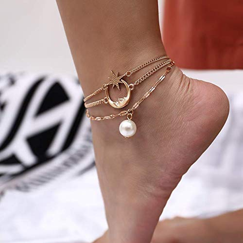 Evazen Boho Star Moon Anklet Chain Gold Layered Ankle Bracelet for Women and ()