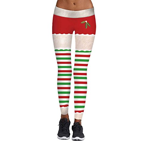 Womens Mistletoe Print Green Red Striped Leggings Ugly Christmas Party Costume S/M for $<!--$13.99-->