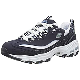 Skechers Sport Women's D'Lites Memory Foam Lace-up Sneaker,Biggest Fan Navy/White,6 M US
