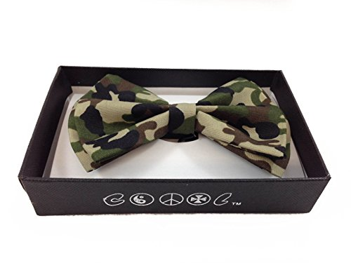 NEW Tuxedo Classic Bowtie Neckwear Adjustable Unisex Bow Tie- Military/army Green Camoflauge