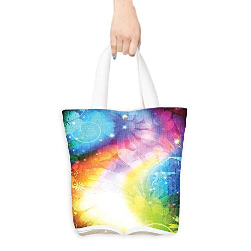 Pattern Shopping Bag Magic Decor Psychedelic Open Book of Fairy Tales on Gradient Rainbow Color Floral Background Multi (W15.75 x L17.71 Inch) -