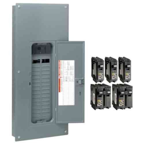 Square D by Schneider Electric HOM3060M200PQCVP Homeline 200 Amp 30-Space 60-Circuit Indoor Main Breaker Qwik-Grip Plug-On Neutral Load Center with Cover - Value Pack