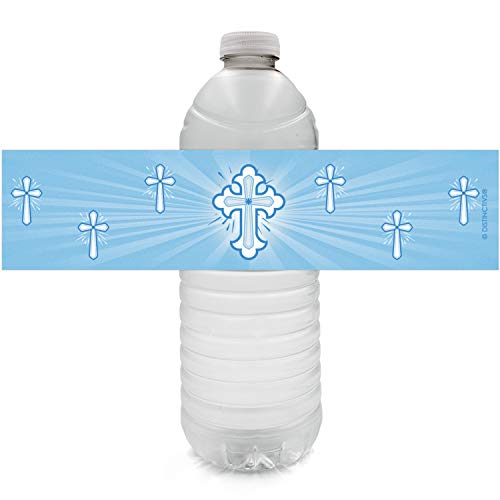 Blue Baptism Party Water Bottle Labels for Boy | Religious Cross | 24 Stickers
