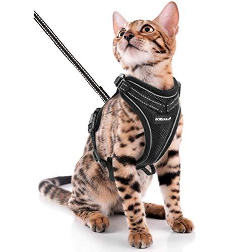 Scirokko Katzengeschirr und Leine, ausbruchsicher, verstellbar, Hundegeschirr für den Außenbereich, mit reflektierendem 3M-Gurt, weiches Netz mit Metallclip, für Katzen, Kaninchen