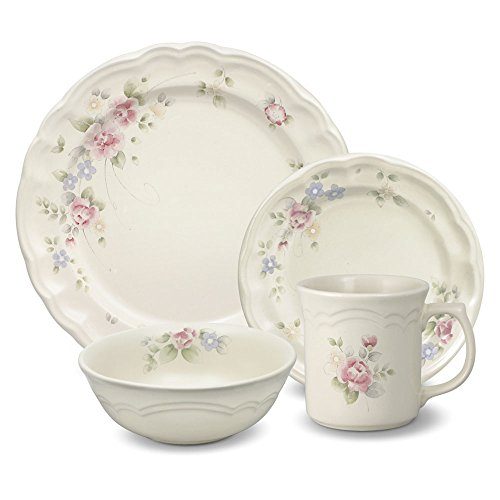 Pfaltzgraff Tea Rose 16 Piece Dinnerware Set, Service for - Classic Rose Set Tea