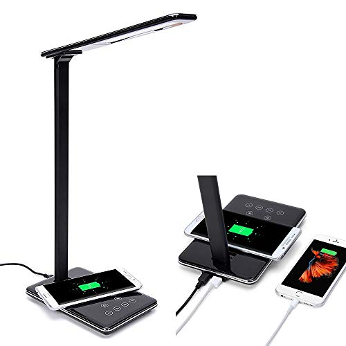 (LED Desk Lamp Qi Wireless Charger with USB Charging Port, Table Lamps for Bedroom Study Touch Control Dimmable Wireless Charging Nightstand Office Lamps Brightness Adjustable Timing Poweroff (Black))
