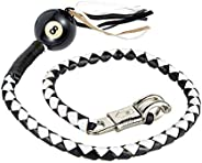 """42"""" Long 1/2"""" Diameter White and Black Motorcycle Get Back Whip with White Pool"""