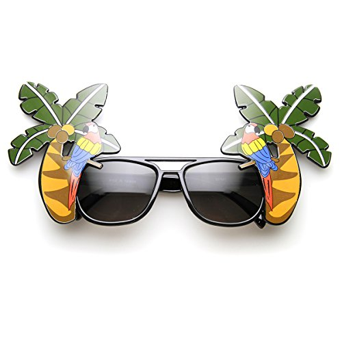 Palm Tree Parrot Cocktail Fancy Luau Party Novelty Sunglasses ()