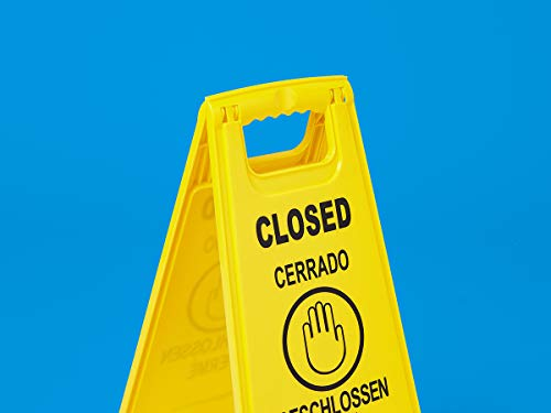 AmazonCommercial 2-Sided Floor Safety Sign - Closed, Multilingual - 6-pack |