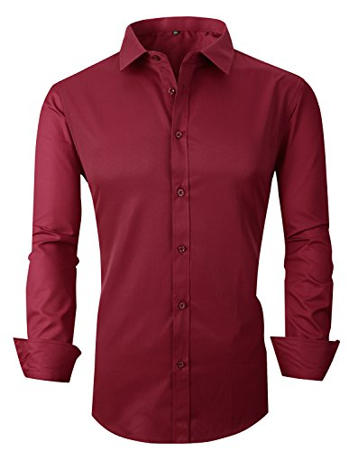 RS Men's Casual Long Sleeve Business Slim Fit Button Down Dress Shirts 18 Wine AS 3X/US M (Dress Shirt Rugby)