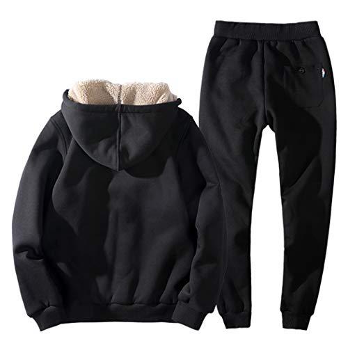 Real Spark Men's Winter Fleece Hoodie Jacket & Jog Pants Set Casual Running Tracksuit Black XS by Real Spark (Image #1)