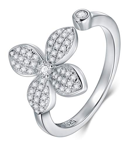 BORUO 925 Sterling Silver Ring, Four Leaf Clover Cubic Zirconia CZ Wedding Band Stackable Ring Size 5