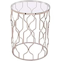 Silver Round End Table with Clear Glass Top SPLENDOR