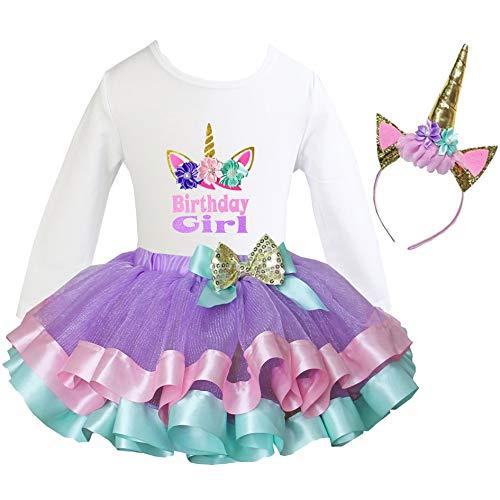 (Kirei Sui Satin Trimmed Tutu Birthday Tee L Unicorn Birthday Girl)