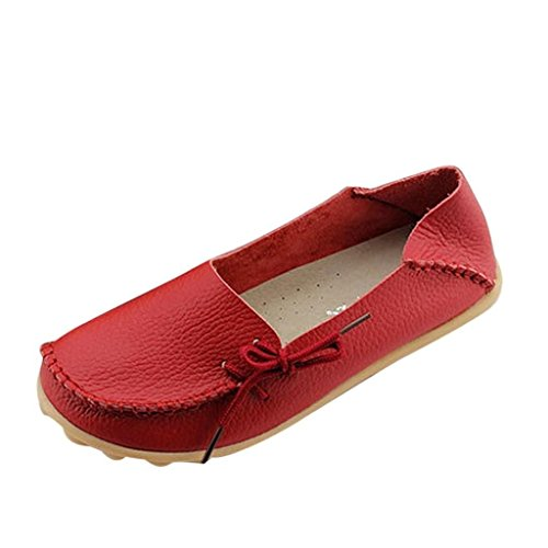 iLory Women's Casual Flat Shoes Leather Loafers Comfortable Driving Shoes Boat Shoes Red GgWN2eJCS1