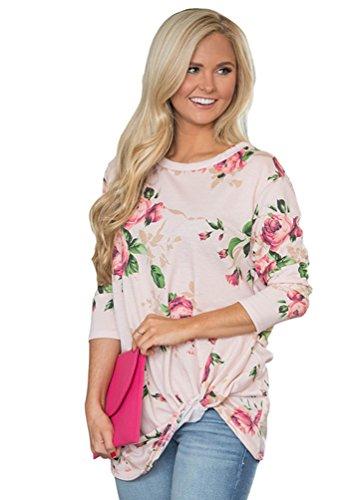 YOUJIA Mujeres Elegant Camisetas de manga 3/4 Estampados florales Irregular Shirt Blusa túnica Tops Beige