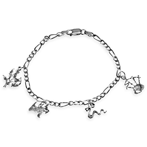 (Sterling Silver Scottish Charm Bracelet with Thistle, Nessie, Scottish Terrier and Bagpipes)