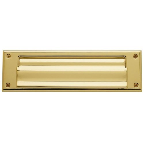 Baldwin 0017 Magazine Sized Spring Tension Brass Letter Box Plate with Hinged In, Polished Nickel