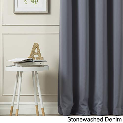Aurora Home Silvertone Grommet Top Thermal Insulated Blackout Curtain Panel Pair Stonewashed Denim 52 x 54